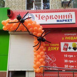 гирлянда на хелоуин херсон, хеловин херсон оформление шарами, шарики на хелоуин